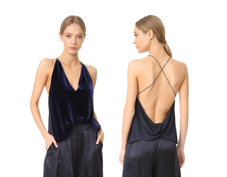 velvet cami - backless tops for transitional weather