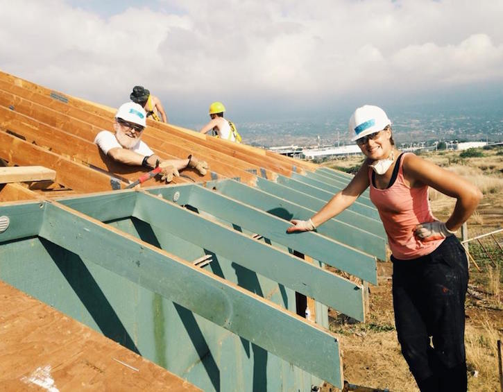 Habitat For Humanity Ruth Bailey working on roof